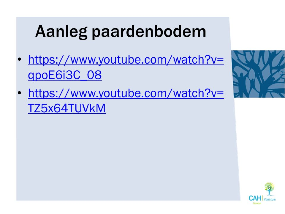 Aanleg paardenbodem https://www.youtube.com/watch?v= qpoE6i3C_08 https://www.youtube.com/watch?v= qpoE6i3C_08 https://www.youtube.com/watch?v= TZ5x64T