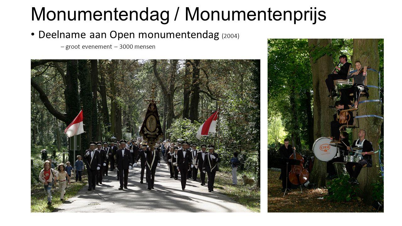 Monumentendag / Monumentenprijs Deelname aan Open monumentendag (2004) – groot evenement – 3000 mensen Deelname aan monumentenprijs