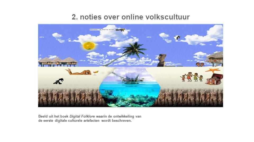 2. noties over online volkscultuur Beeld uit het boek Digital Folklore waarin de ontwikkeling van de eerste digitale culturele artefacten wordt beschr