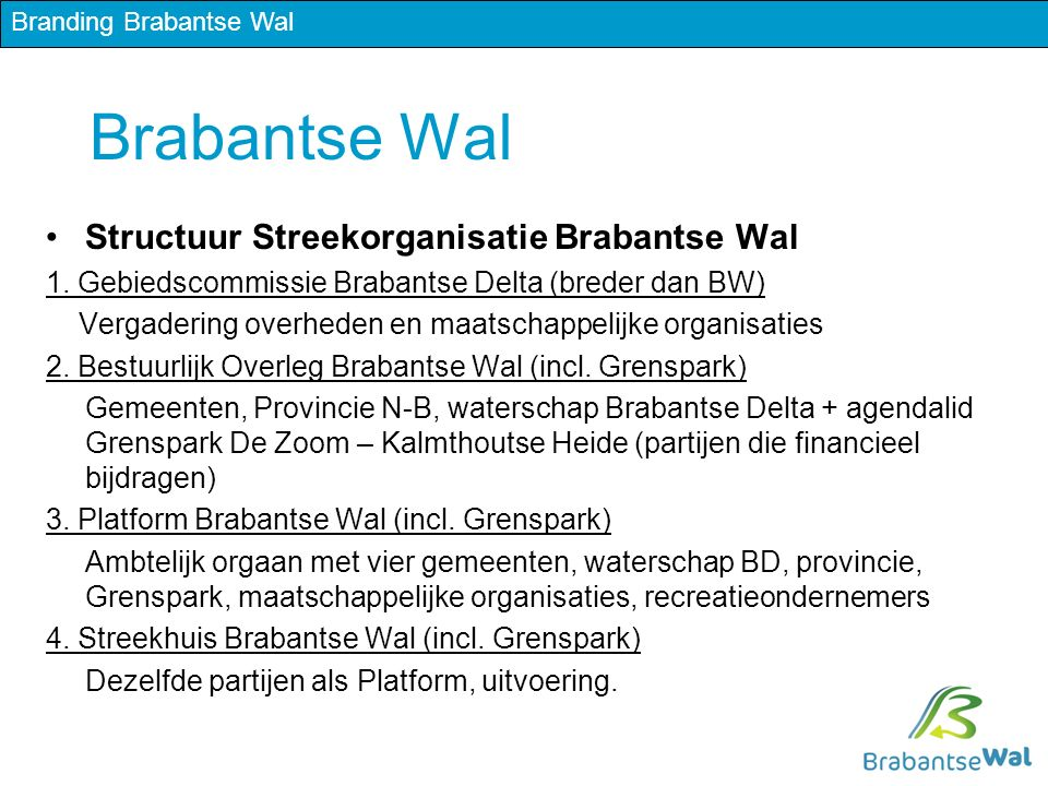 Brabantse Wal Structuur Streekorganisatie Brabantse Wal 1.