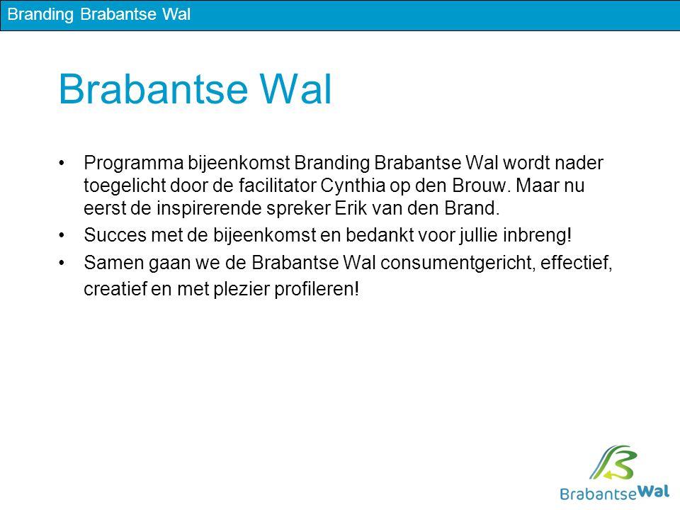 Brabantse Wal Programma bijeenkomst Branding Brabantse Wal wordt nader toegelicht door de facilitator Cynthia op den Brouw.