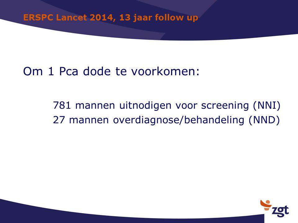 ERSPC Lancet 2014, 13 jaar follow up Om 1 Pca dode te voorkomen: 781 mannen uitnodigen voor screening (NNI) 27 mannen overdiagnose/behandeling (NND)