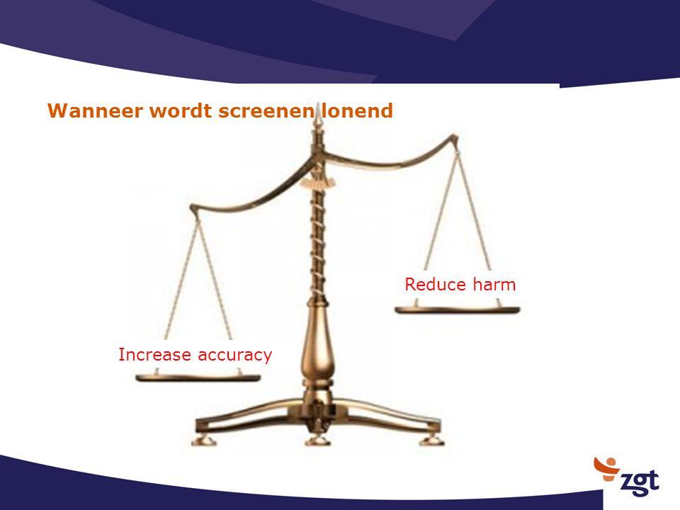 Wanneer wordt screenen lonend Reduce harm Increase accuracy