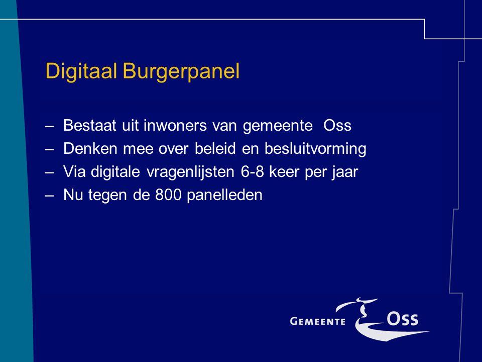 Digitaal Burgerpanel –Bestaat uit inwoners van gemeente Oss –Denken mee over beleid en besluitvorming –Via digitale vragenlijsten 6-8 keer per jaar –Nu tegen de 800 panelleden