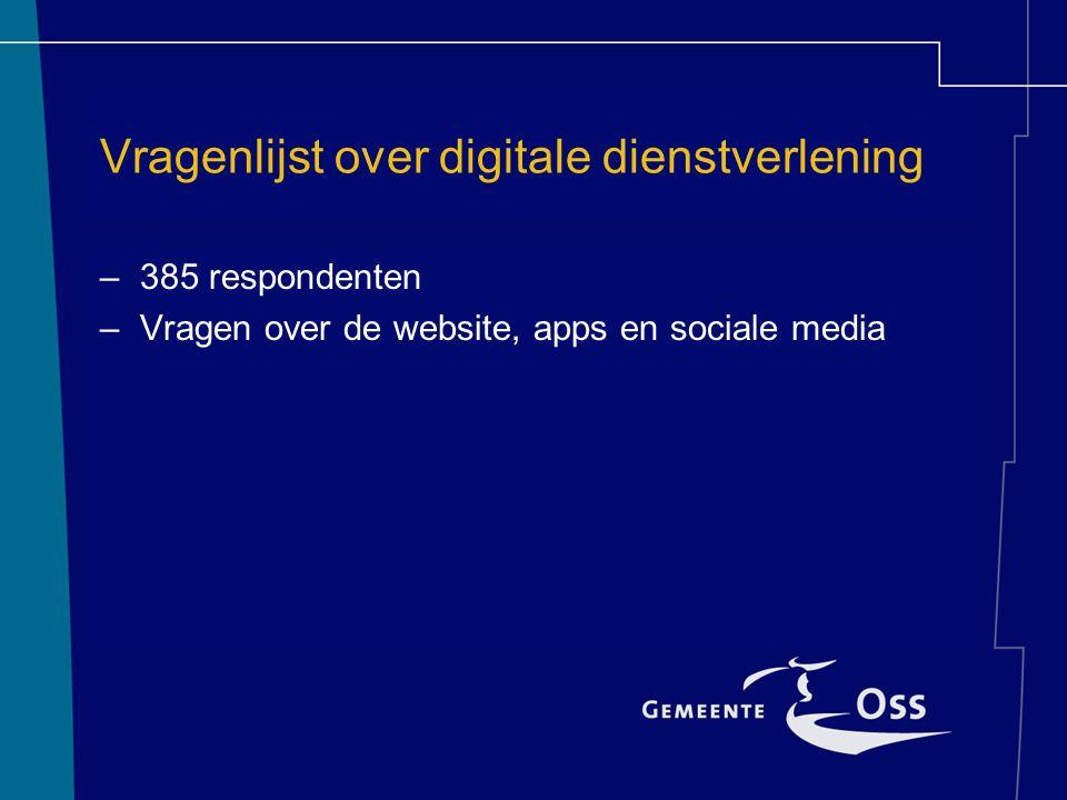 Vragenlijst over digitale dienstverlening –385 respondenten –Vragen over de website, apps en sociale media