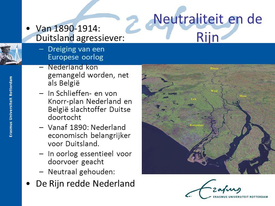 Neutraliteit en de Rijn Van 1890-1914: Duitsland agressiever: –Dreiging van een Europese oorlog –Nederland kon gemangeld worden, net als België –In Sc