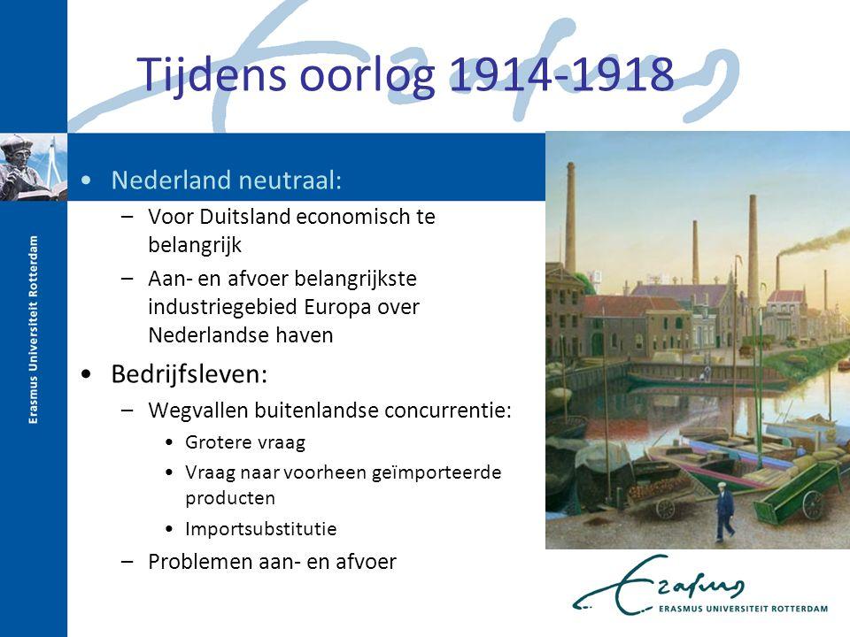 Tijdens oorlog 1914-1918 Nederland neutraal: –Voor Duitsland economisch te belangrijk –Aan- en afvoer belangrijkste industriegebied Europa over Nederl