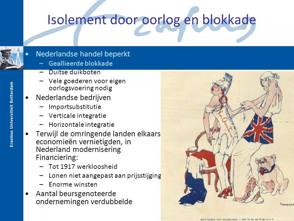 Isolement door oorlog en blokkade Nederlandse handel beperkt –Geallieerde blokkade –Duitse duikboten –Vele goederen voor eigen oorlogsvoering nodig Ne
