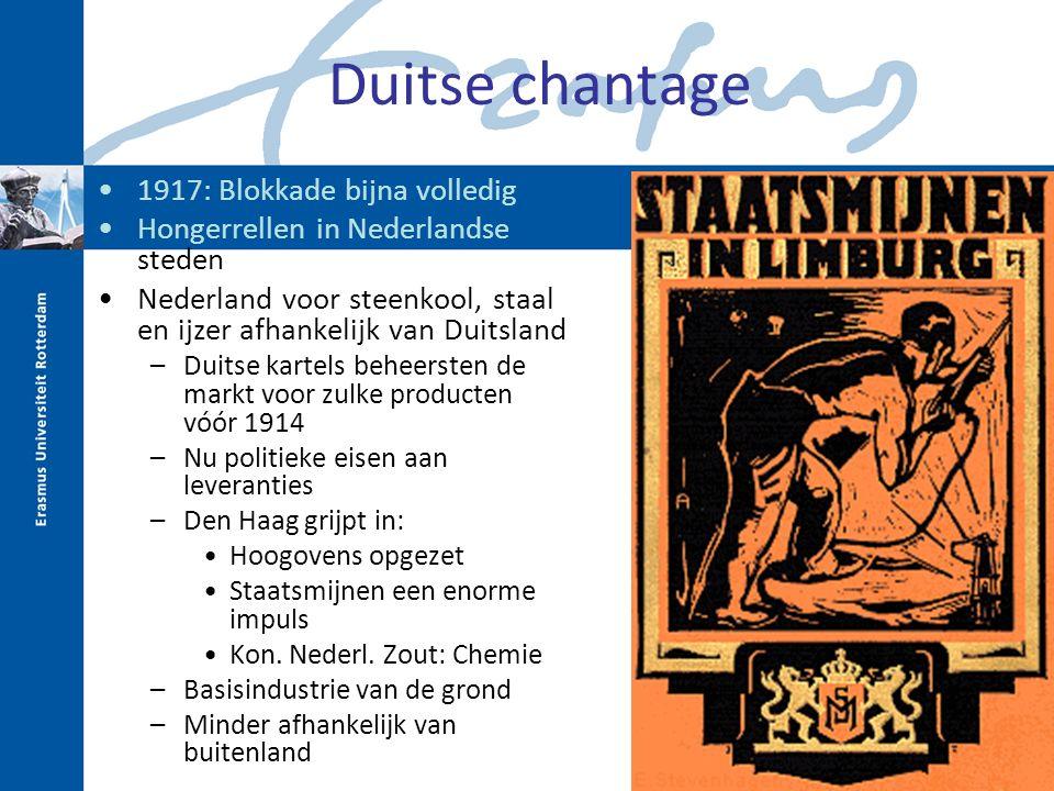 Duitse chantage 1917: Blokkade bijna volledig Hongerrellen in Nederlandse steden Nederland voor steenkool, staal en ijzer afhankelijk van Duitsland –D