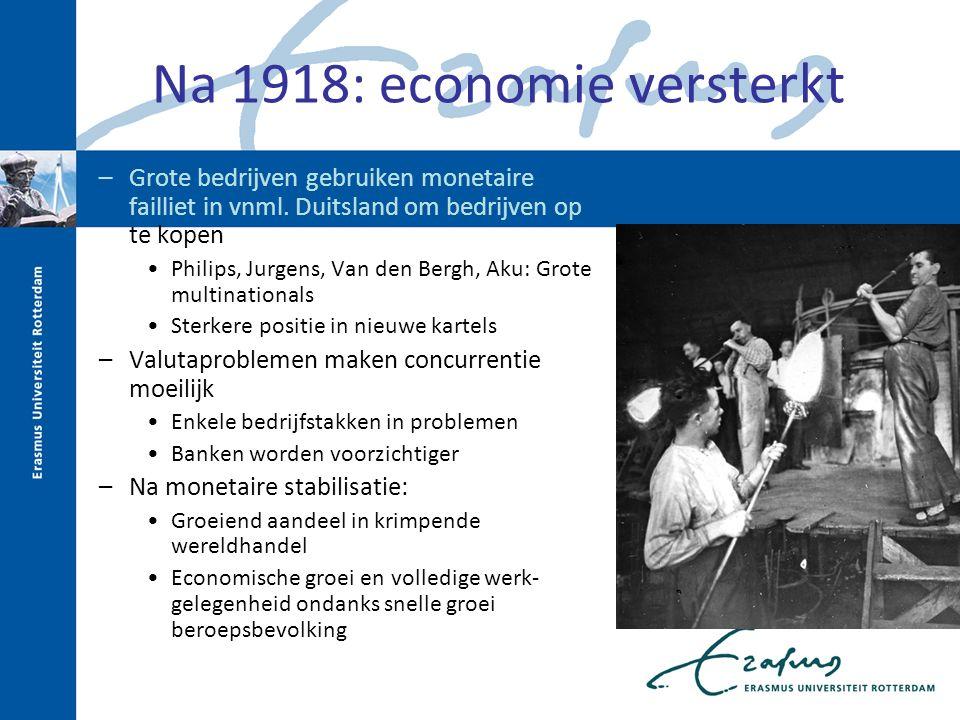 Na 1918: economie versterkt –Grote bedrijven gebruiken monetaire failliet in vnml. Duitsland om bedrijven op te kopen Philips, Jurgens, Van den Bergh,
