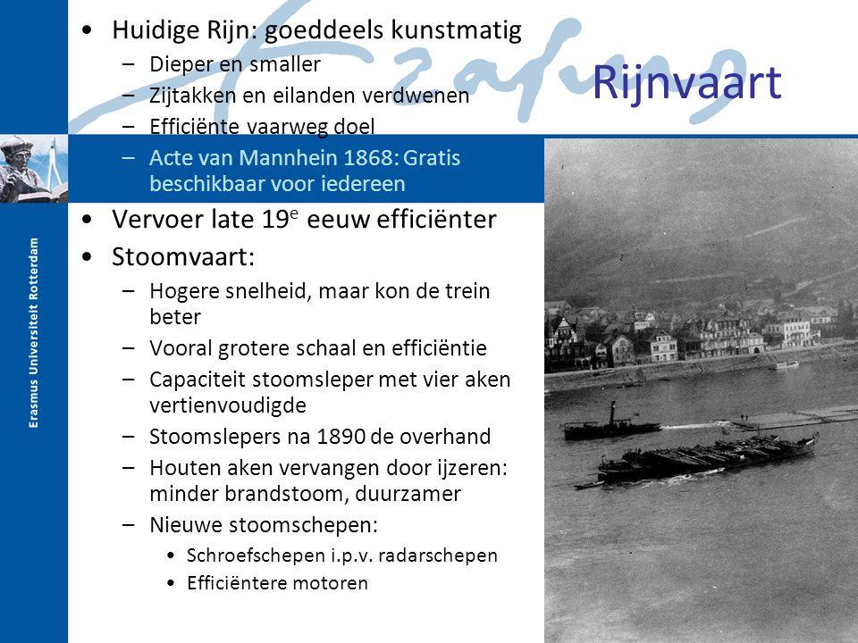 Rijnvaart Huidige Rijn: goeddeels kunstmatig –Dieper en smaller –Zijtakken en eilanden verdwenen –Efficiënte vaarweg doel –Acte van Mannhein 1868: Gra