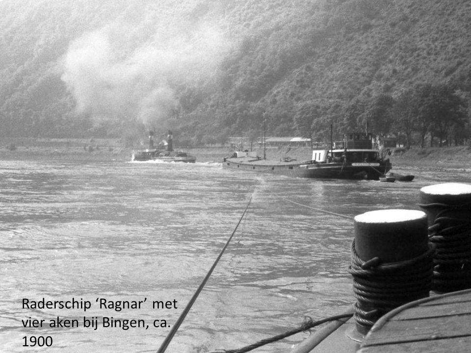 Raderschip 'Ragnar' met vier aken bij Bingen, ca. 1900