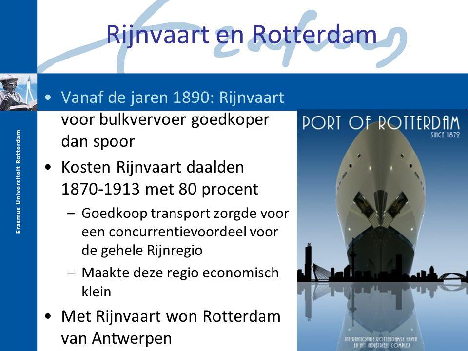 Rijnvaart en Rotterdam Vanaf de jaren 1890: Rijnvaart voor bulkvervoer goedkoper dan spoor Kosten Rijnvaart daalden 1870-1913 met 80 procent –Goedkoop transport zorgde voor een concurrentievoordeel voor de gehele Rijnregio –Maakte deze regio economisch klein Met Rijnvaart won Rotterdam van Antwerpen