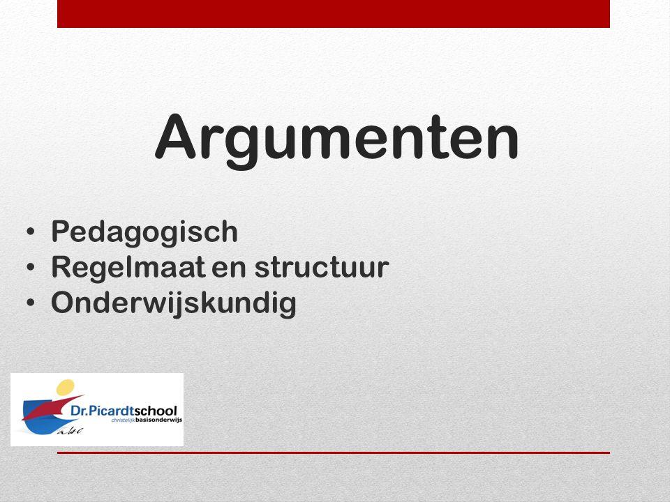 Argumenten Pedagogisch Regelmaat en structuur Onderwijskundig