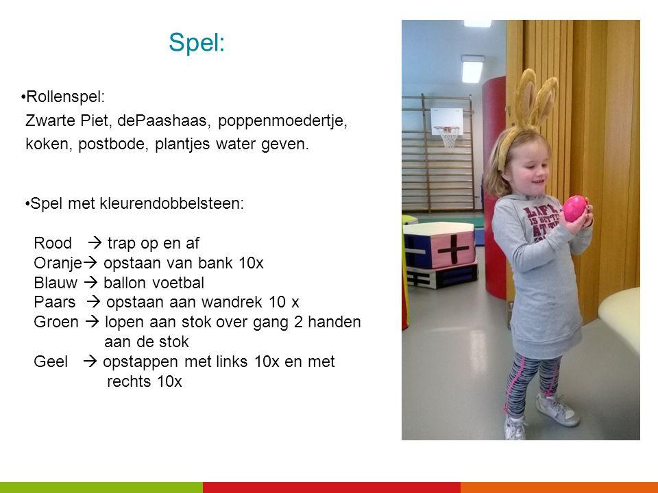 Spel: Rollenspel: Zwarte Piet, dePaashaas, poppenmoedertje, koken, postbode, plantjes water geven.