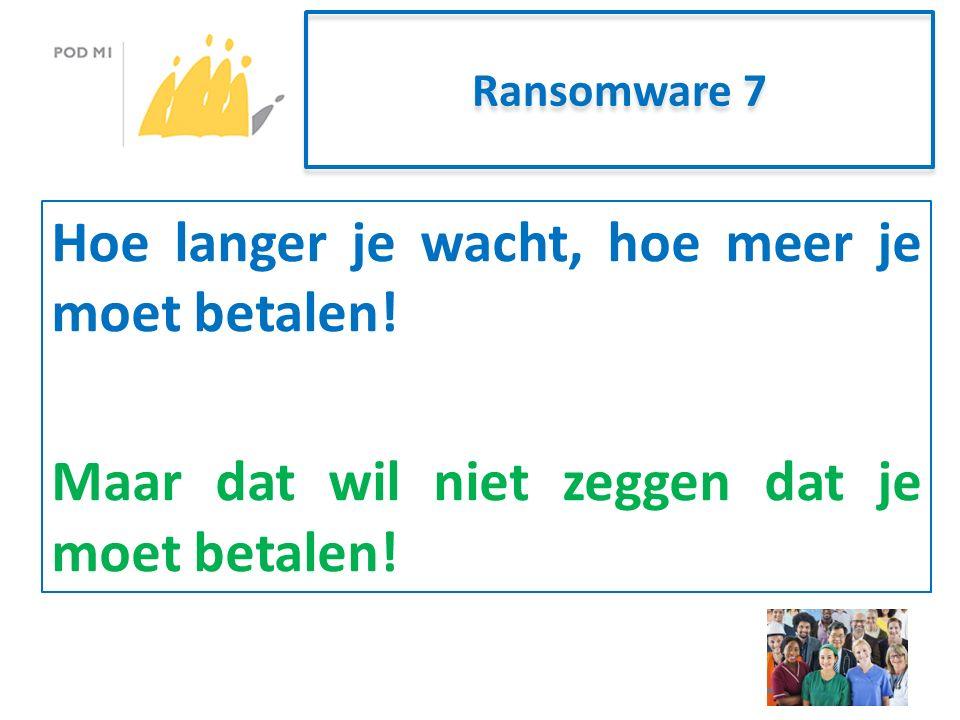 Ransomware 7 Hoe langer je wacht, hoe meer je moet betalen.