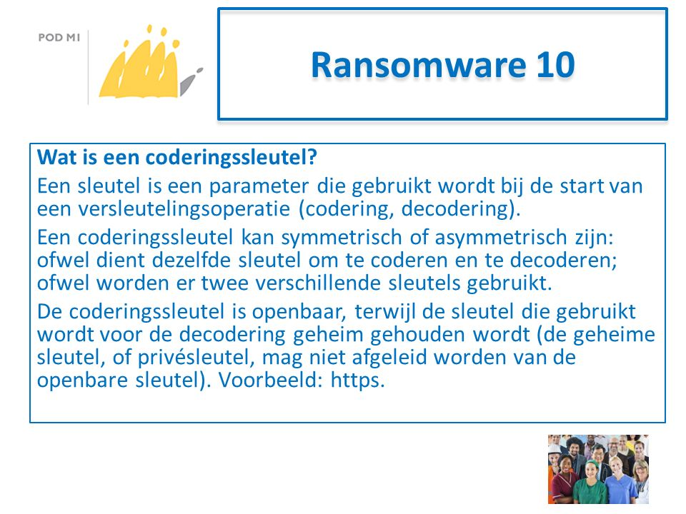 Ransomware 10 Wat is een coderingssleutel.