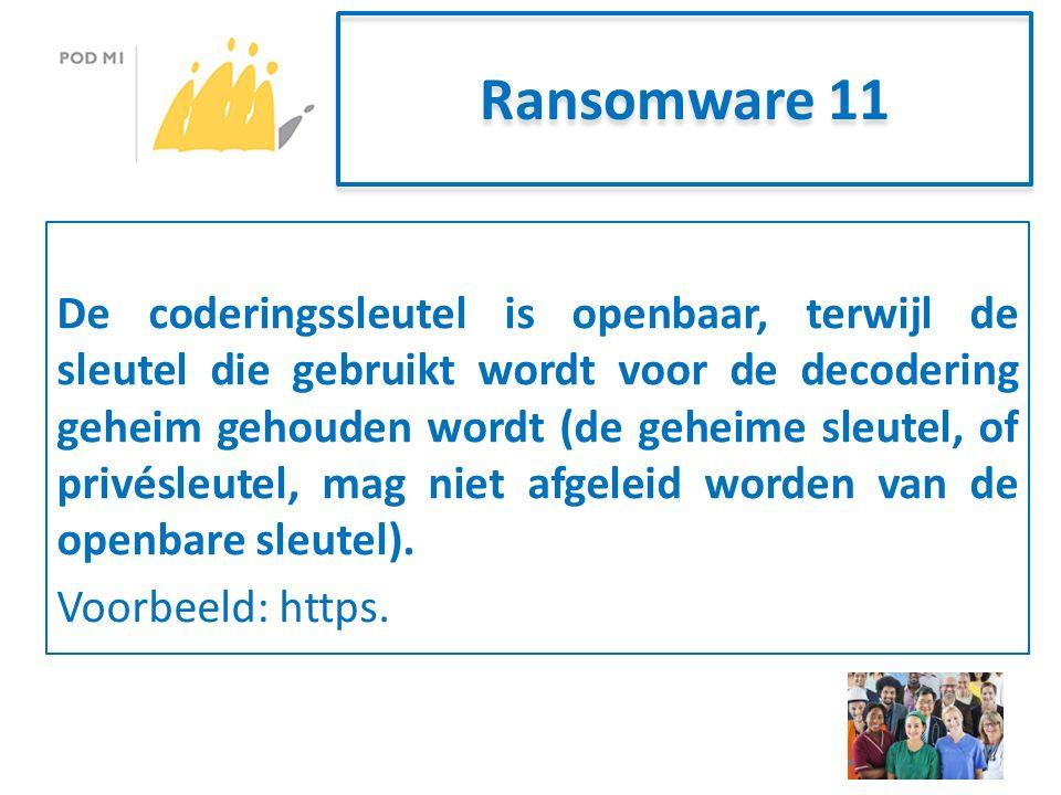 Ransomware 11 De coderingssleutel is openbaar, terwijl de sleutel die gebruikt wordt voor de decodering geheim gehouden wordt (de geheime sleutel, of privésleutel, mag niet afgeleid worden van de openbare sleutel).