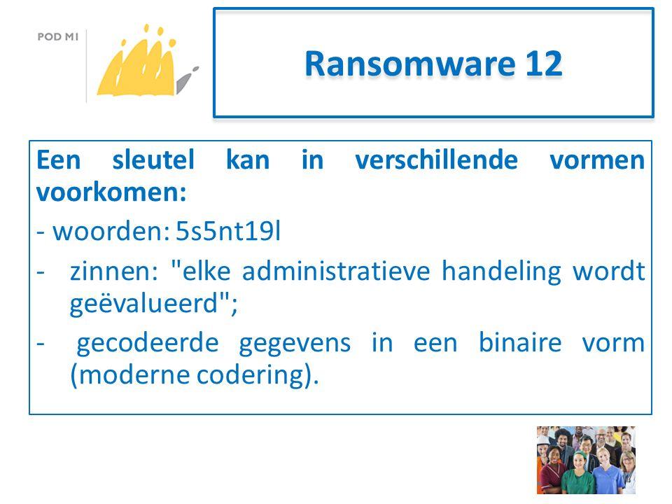 Ransomware 12 Een sleutel kan in verschillende vormen voorkomen: - woorden: 5s5nt19l -zinnen: elke administratieve handeling wordt geëvalueerd ; - gecodeerde gegevens in een binaire vorm (moderne codering).