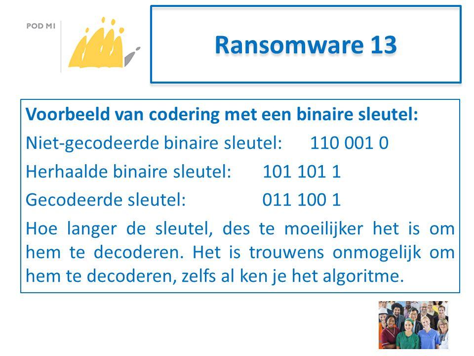 Ransomware 13 Voorbeeld van codering met een binaire sleutel: Niet-gecodeerde binaire sleutel:110 001 0 Herhaalde binaire sleutel:101 101 1 Gecodeerde sleutel:011 100 1 Hoe langer de sleutel, des te moeilijker het is om hem te decoderen.
