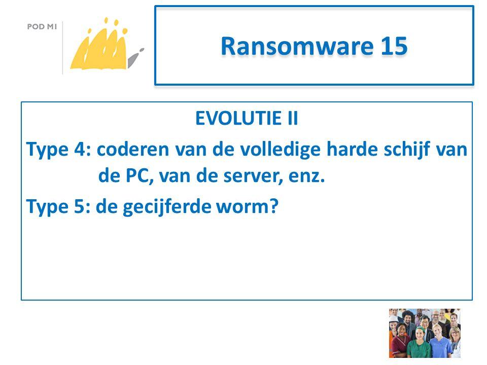 Ransomware 15 EVOLUTIE II Type 4: coderen van de volledige harde schijf van de PC, van de server, enz.