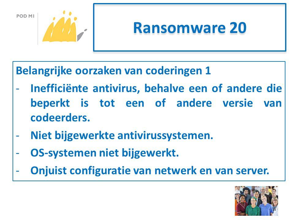 Ransomware 20 Belangrijke oorzaken van coderingen 1 -Inefficiënte antivirus, behalve een of andere die beperkt is tot een of andere versie van codeerders.