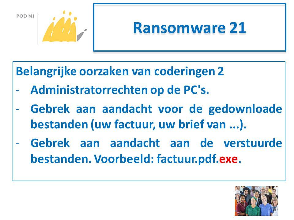 Ransomware 21 Belangrijke oorzaken van coderingen 2 -Administratorrechten op de PC s.