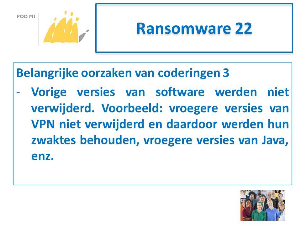 Ransomware 22 Belangrijke oorzaken van coderingen 3 -Vorige versies van software werden niet verwijderd.