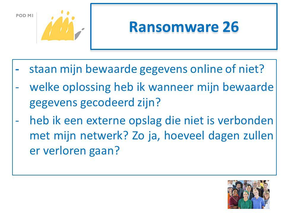 Ransomware 26 -staan mijn bewaarde gegevens online of niet.