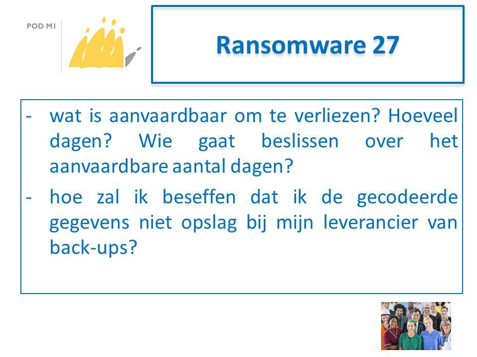 Ransomware 27 -wat is aanvaardbaar om te verliezen.