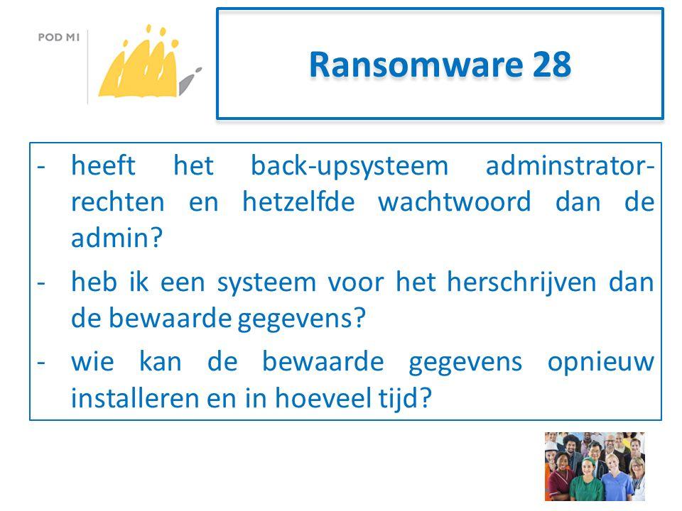 Ransomware 28 -heeft het back-upsysteem adminstrator- rechten en hetzelfde wachtwoord dan de admin.