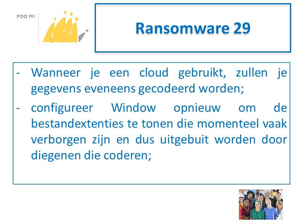 Ransomware 29 -Wanneer je een cloud gebruikt, zullen je gegevens eveneens gecodeerd worden; -configureer Window opnieuw om de bestandextenties te tonen die momenteel vaak verborgen zijn en dus uitgebuit worden door diegenen die coderen;