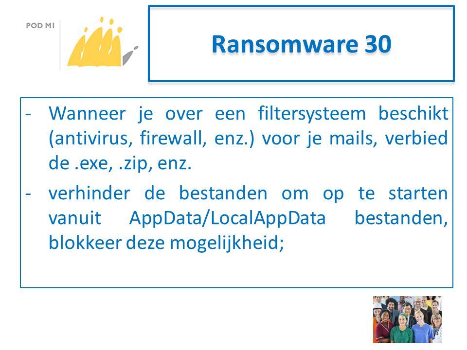 Ransomware 30 -Wanneer je over een filtersysteem beschikt (antivirus, firewall, enz.) voor je mails, verbied de.exe,.zip, enz.
