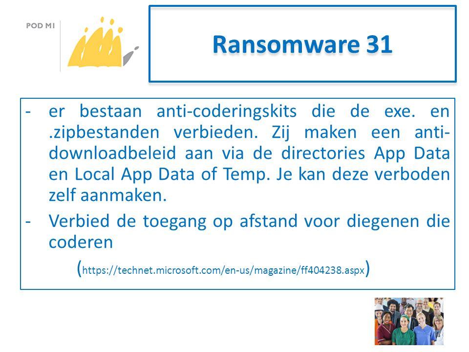 Ransomware 31 -er bestaan anti-coderingskits die de exe.