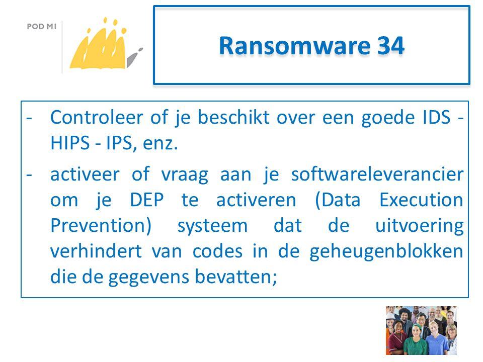 Ransomware 34 -Controleer of je beschikt over een goede IDS - HIPS - IPS, enz.