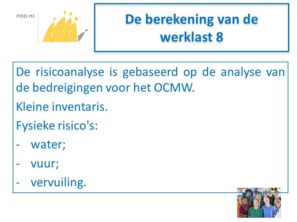 De berekening van de werklast 8 De risicoanalyse is gebaseerd op de analyse van de bedreigingen voor het OCMW.