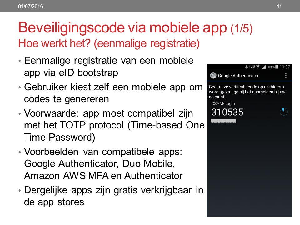 Beveiligingscode via mobiele app (1/5) Hoe werkt het? (eenmalige registratie) Eenmalige registratie van een mobiele app via eID bootstrap Gebruiker ki