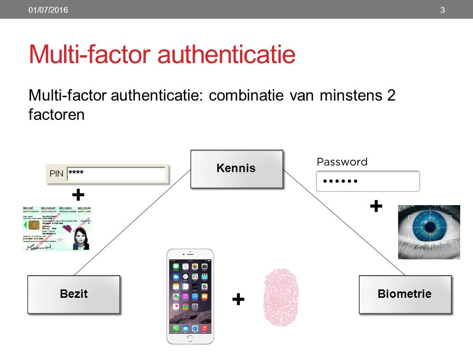 Multi-factor authenticatie Multi-factor authenticatie: combinatie van minstens 2 factoren 01/07/20163 Kennis BezitBiometrie + + +