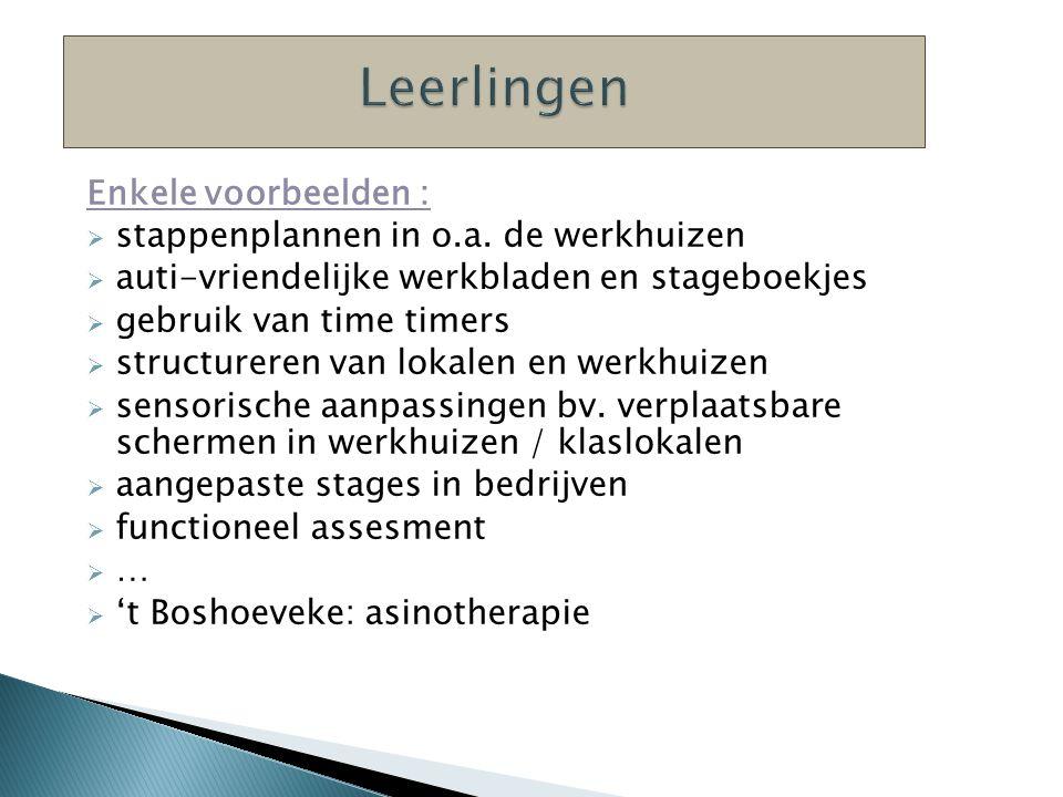 Enkele voorbeelden :  stappenplannen in o.a.