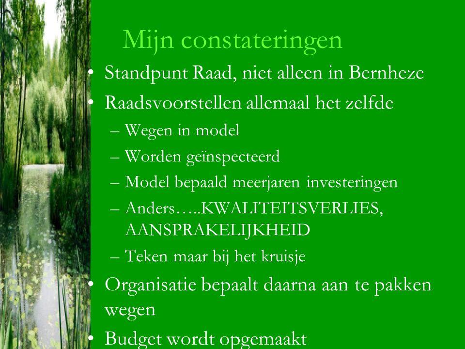 Mijn constateringen Standpunt Raad, niet alleen in Bernheze Raadsvoorstellen allemaal het zelfde –Wegen in model –Worden geïnspecteerd –Model bepaald