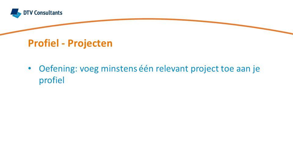 Oefening: voeg minstens één relevant project toe aan je profiel