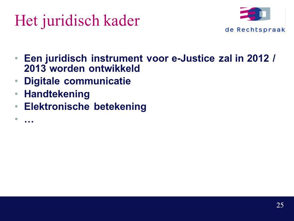 25 Het juridisch kader Een juridisch instrument voor e-Justice zal in 2012 / 2013 worden ontwikkeld Digitale communicatie Handtekening Elektronische betekening …