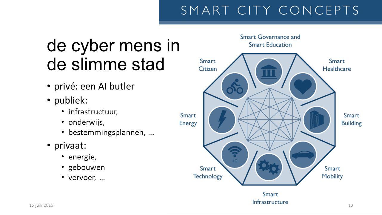 de cyber mens in de slimme stad privé: een AI butler publiek: infrastructuur, onderwijs, bestemmingsplannen, … privaat: energie, gebouwen vervoer, … 15 juni 201613