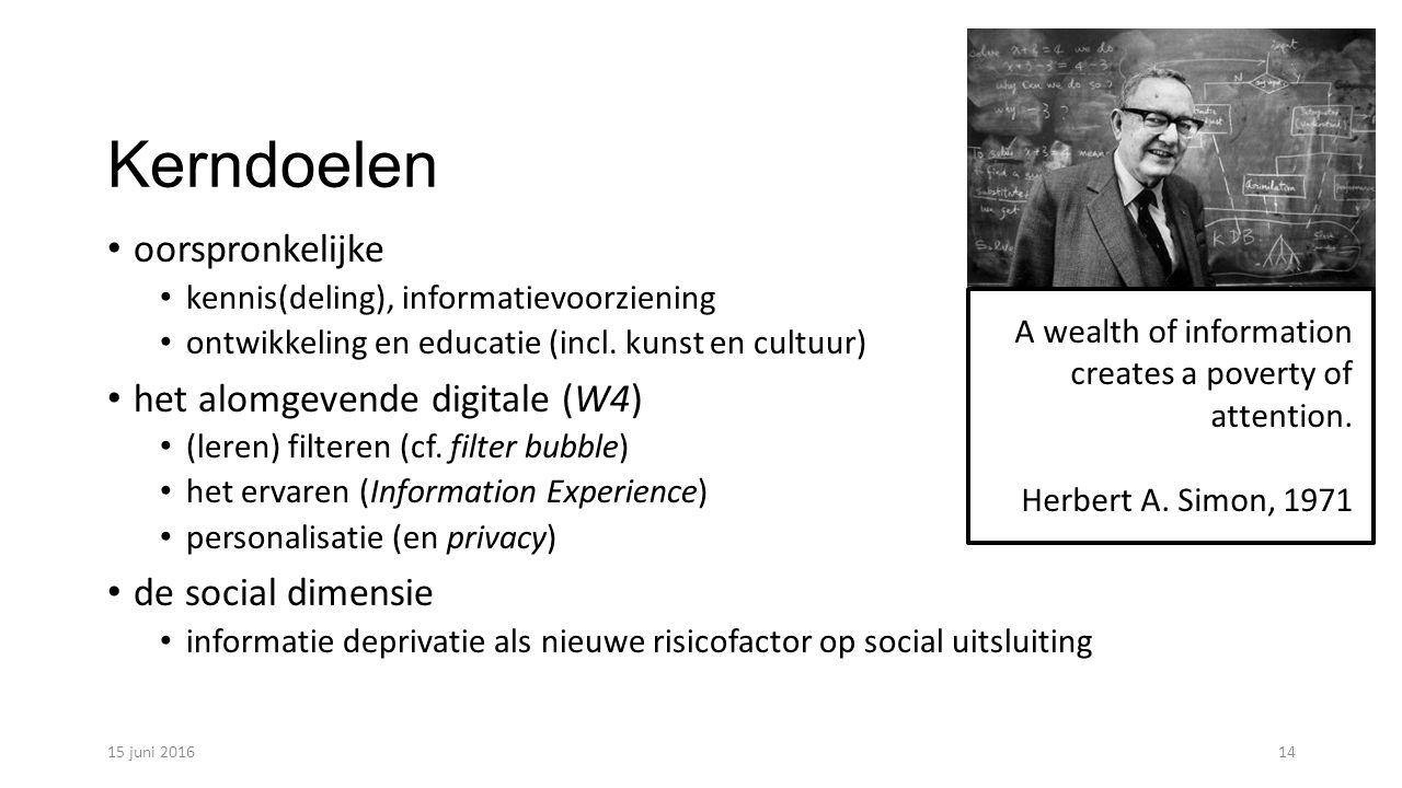 Kerndoelen oorspronkelijke kennis(deling), informatievoorziening ontwikkeling en educatie (incl.
