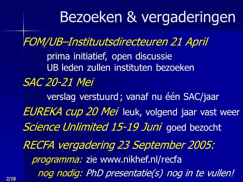 2/18 Bezoeken & vergaderingen RECFA vergadering 23 September 2005: programma: zie www.nikhef.nl/recfa nog nodig: PhD presentatie(s) nog in te vullen.