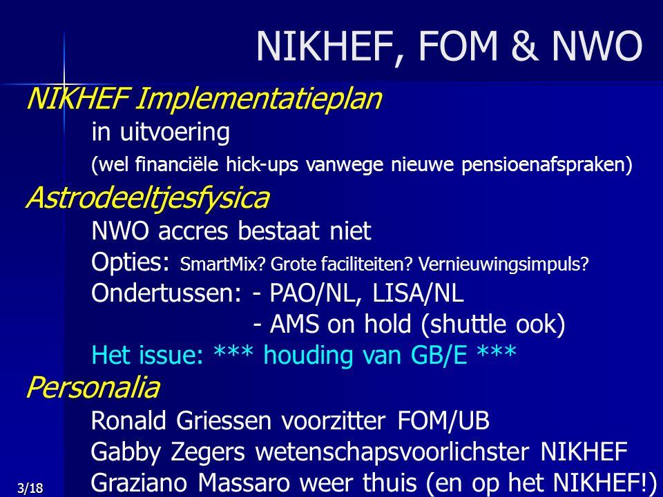 3/18 NIKHEF, FOM & NWO NIKHEF Implementatieplan in uitvoering (wel financiële hick-ups vanwege nieuwe pensioenafspraken) Astrodeeltjesfysica NWO accres bestaat niet Opties: SmartMix.