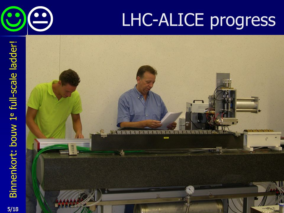 5/18 LHC-ALICE progress  Binnenkort: bouw 1 e full-scale ladder!