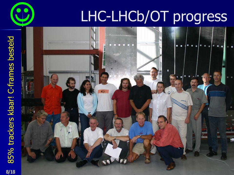 8/18 LHC-LHCb/OT progress 85% trackers klaar! C-frames besteld