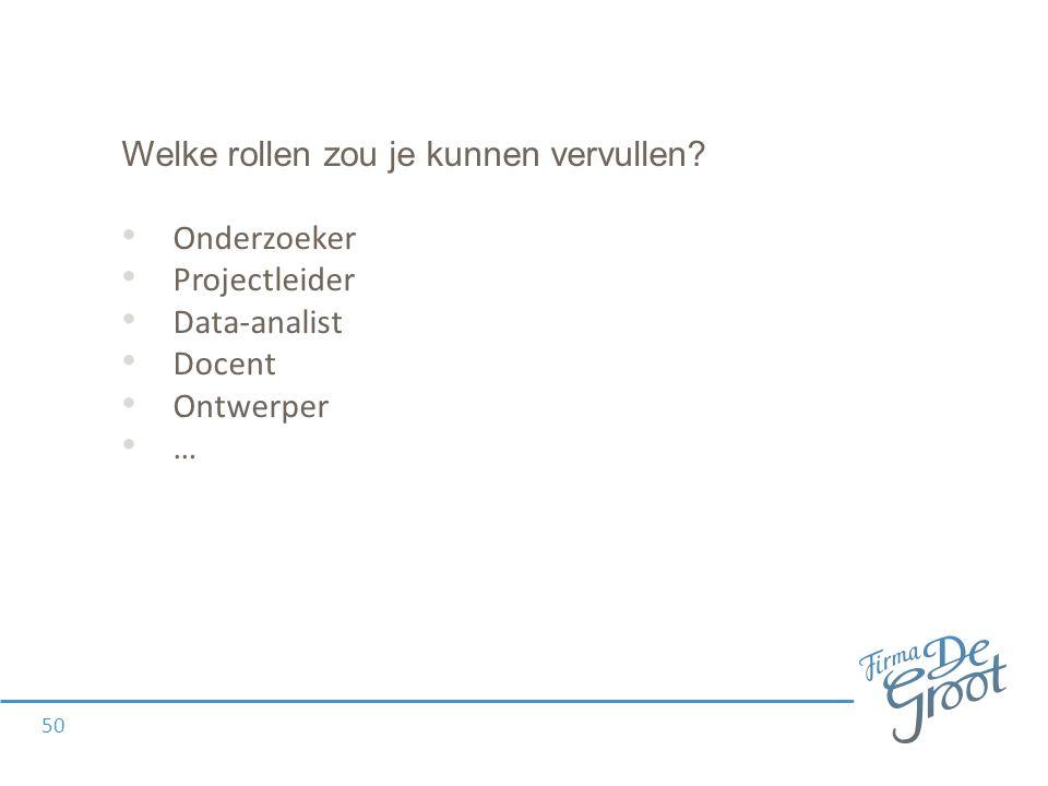 Welke rollen zou je kunnen vervullen Onderzoeker Projectleider Data-analist Docent Ontwerper … 50