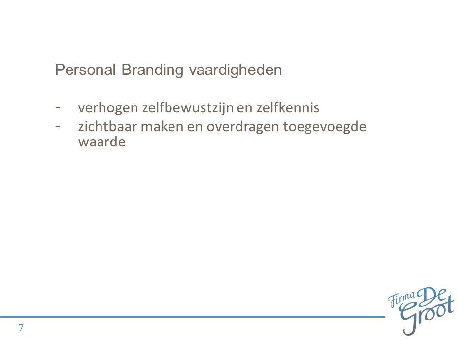 Personal Branding vaardigheden - verhogen zelfbewustzijn en zelfkennis - zichtbaar maken en overdragen toegevoegde waarde 7